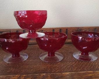 Red Glass Sherbet Cup Set Sherbet Tumblers Sherbert Glass Red Glass Luminarc Cavalier Vintage Red Glass Retro Glass Red Glass