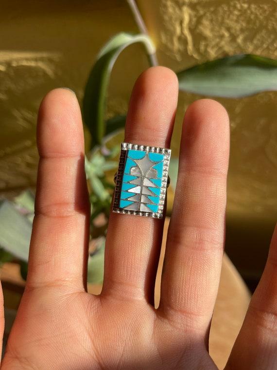 Diana Quam Navajo Inlay Ring Size 7 - image 2