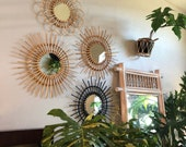 Hand Made Rattan Mirror, Hand made mirror 4 colors available, with hanging equipment.