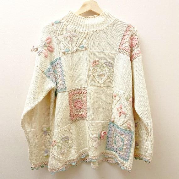 Vintage Grandma Crochet Knit Sweater