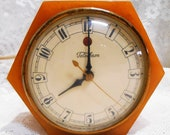 All Original, Vintage Hexagon, Butterscotch Swirl Bakelite, Working Telechron Bedside Electric Clock, 1929 - 1935, Daphne Model 3 F 53