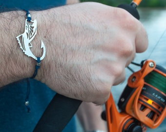 Sea bass  fish| fishing gift | gift for the fisherman | bass fishing | Gift for men | man bracelet fishing | Fishing | cuff bracelet
