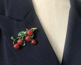 Retro Sparkling Rhinestone Berry Pin Item K # 57