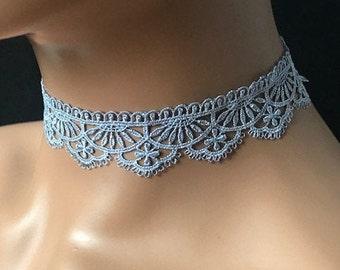 Handmade scallop brown grey stretch lace choker women jewellery by East Link Jewellery