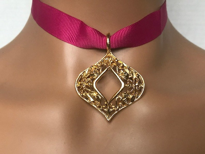 Gift for Her Gold Rhombus Ribbon Choker and Pendant 21st birthday gift for her Pink ribbon choker Ribbon choker necklace