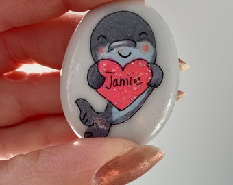 Narwhale Pocket hug Worry stone personalised mental health gift anxiety stress small giftBack to school heart thank youfriendship