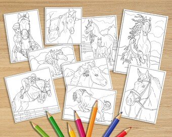 Equestrian gifts. Coloring books for adults. Digital coloring book. Printable coloring pages adult. Gift for horse lover