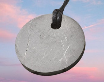 Shungite Pendant Amulet Small Circle (0.78 inches) Shungite Stone Shungite Crystal Elite Noble Shungite Black Shungite Russian