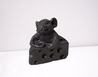 "Figurine made of Shungite ""Mouse on cheese"" EMF Protection, Shungite powder figure"