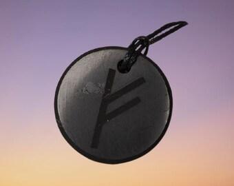 "Shungite Pendant Amulet Rune of Wealth ""Feu"" Shungite Stone Shungite Crystal Elite Noble Shungite Black Shungite Russian"