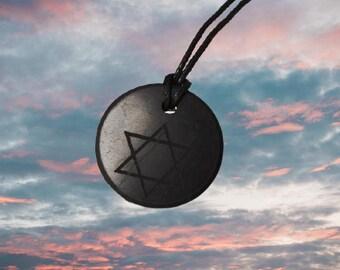 Shungite Pendant Amulet Star of David Shungite Stone Shungite Crystal Elite Noble Shungite Black Shungite Russian
