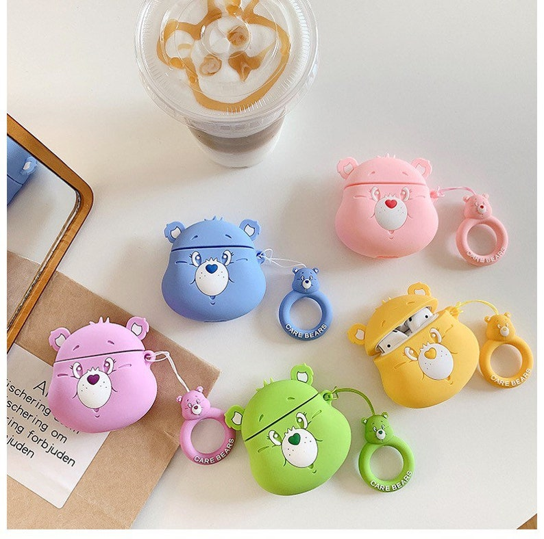Combo set: Care Bears AirPods Case with key rain cute rainbow image 0