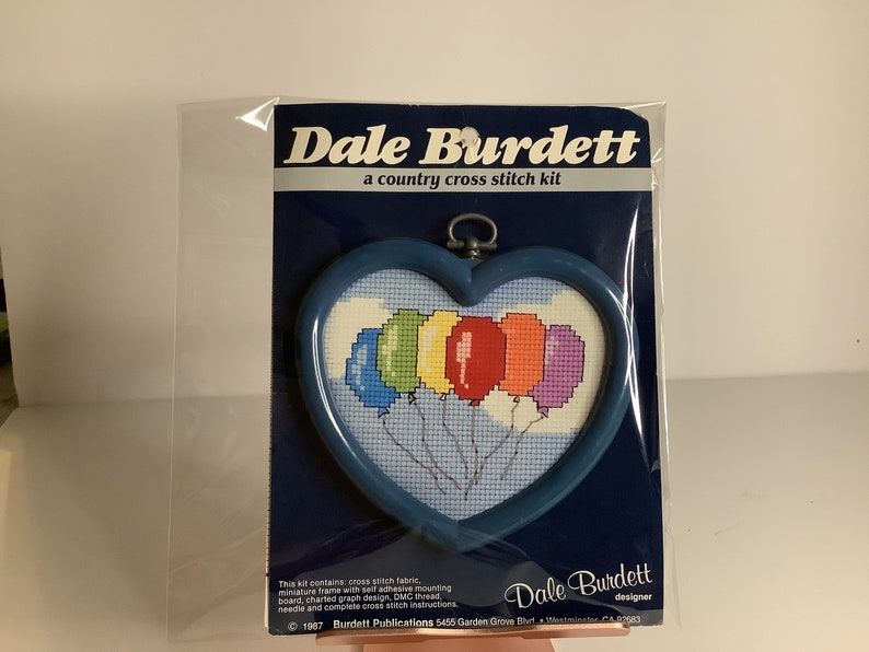Balloons Counted Cross Stitch Colorful Blue Heart Frame Gift Kit 1980s