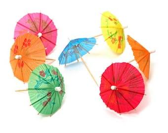 Printed Paper Umbrella//Parasol Cocktail//Martini Sticks 20//Pack
