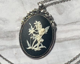 Forest Fairy Cameo Necklace Ivory on Black Pendant Black and White Lady Cameo Vintage Brass Victorian Style Women Jewelry Gift for Her 2414