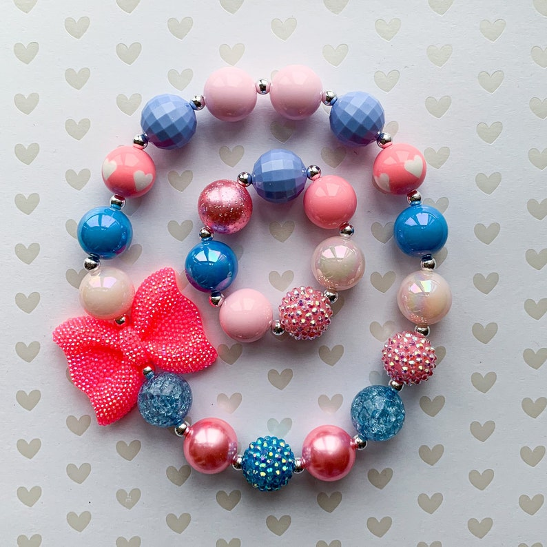 Pink Bow Chunky Necklace Girl Necklace Children Necklace Baby Bracelet Baby Necklace Jewelry Toddler Necklace Toddler Bracelet