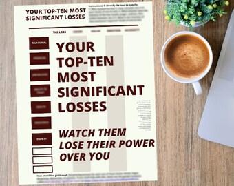 Top Ten Losses worksheet, self care templates, grieving mental health, death divorce neglect narcissistic abuse custody job loss hostility