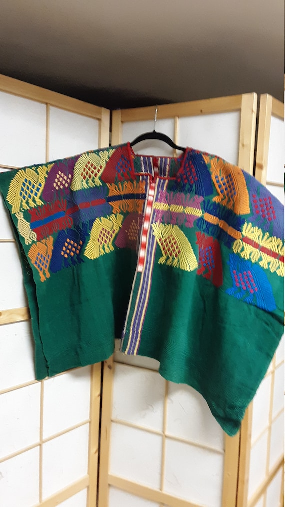 Embroidered Mexican poncho/huipil