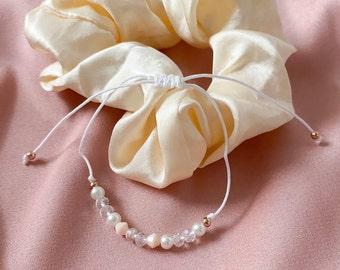 Filigree beaded bracelet, white, rose gold adjustable bracelet, friendship bracelet pink, transparent