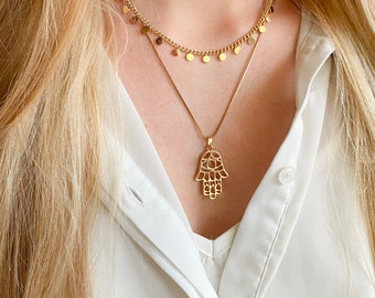 Necklace with pendant, filigree, hand of fatima, gold plated stainless steel