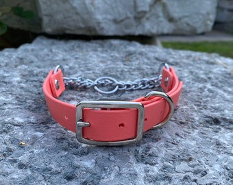 Biothane Dog Collar Half Check Martingale 3/4 inch width with Silver Hardware