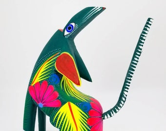 Green Howling Wolf Alebrije   Mexican Hand Carved Wood Fantasy Creature Figure