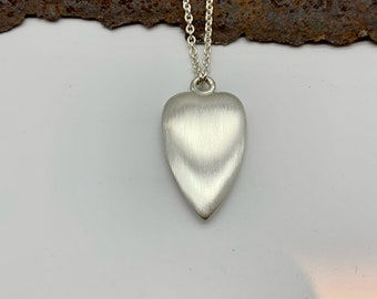 Heart pendant matt/polished with chain - silver 925