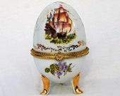 Limoges Egg Porcelain Footed Trinket Box, Porcelaine Limoges Trinket Box Porcelain, Antique French Bijoux Box, Art Nouveau
