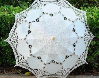 White/Beige Bridal  Umbrella