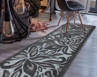 Color Options Available Custom Size Hallway Runner Rug Abstract Brown Color 31 inch Wide Select Your Length Non-Slip Skid Resistance Rubber Backing 2 feet x 31 inch