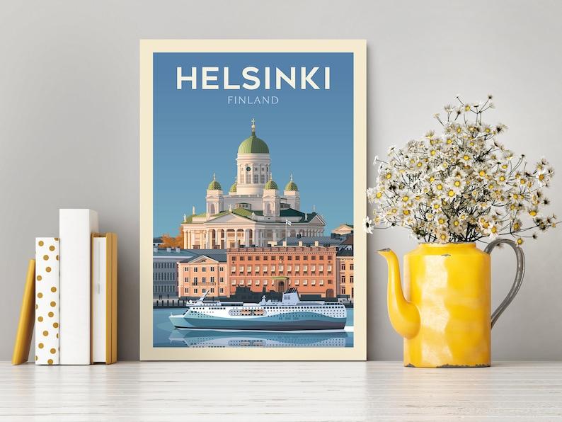 Helsinki Finland Travel Poster  Wall Art  City travel Print  Europe