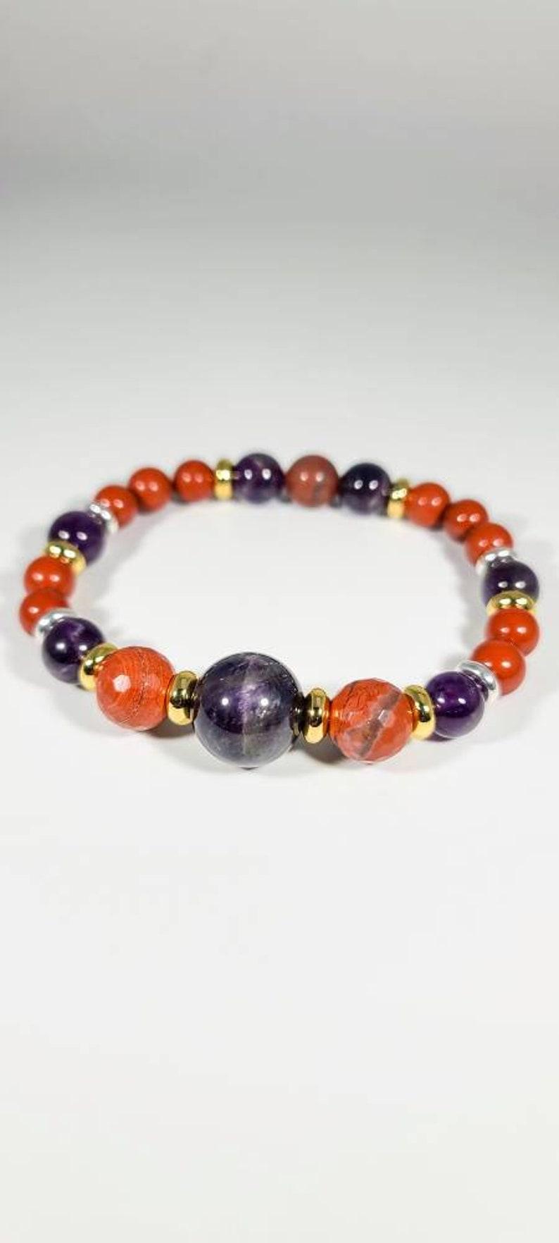 PARMADI Red Jasper Amethyst /& Bloodstone Bracelet