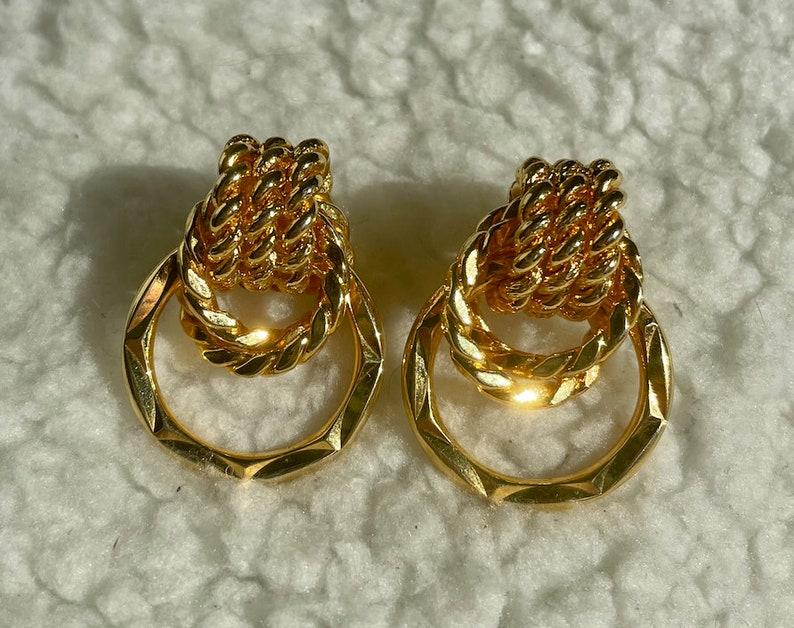 Vintage gold rope earrings