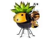 Metal Ladybug Flower Planter for Garden, Outdoor or Indoor Spaces (Yellow Planter)