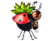 Metal Ladybug Flower Planter for Garden, Outdoor or Indoor Spaces (Red Planter)