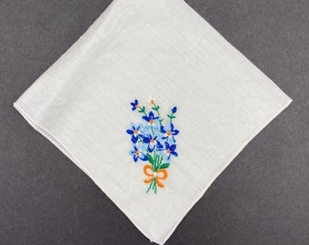 Vintage Rainbow Multi Colored White Crotched Hankies Easter Table Decor Mothers Day Gift for Her Set of Five
