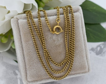 """Vintage Curb Link Long 22"""" Chain Rolled Gold Necklace"""