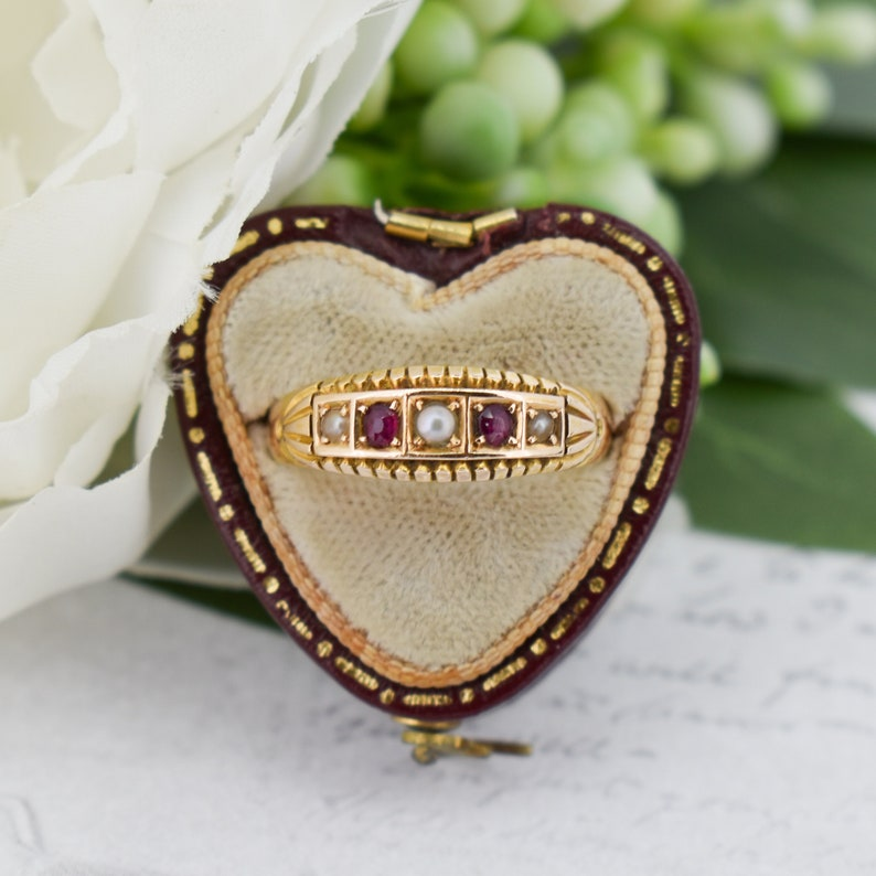 Antique Victorian Ruby and Pearl 15K 15ct Gold Gypsy Band Ring image 1