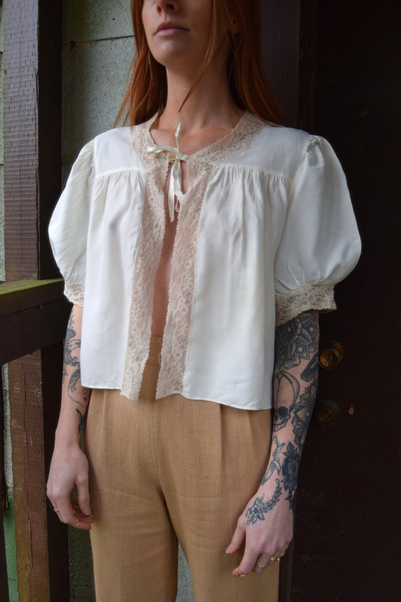 neck bow puff sleeves dreamy victorian Vintage bed jacket blouse romantic