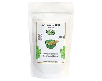 AKI MATCHA - Japanese Ceremonial Grade Matcha Green Tea Powder | Organic, Pure, Japanese Origin | Tasty, Smooth, Creamy | Size 100g ~ 3.53oz