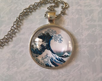 Hokusai Necklace The Great wave off Kanagawa pendant with chain