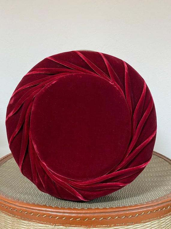 Red Velvet Hat / 40's / Vintage Hat /