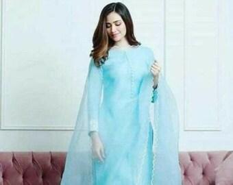 Women Designer Cotton Dupatta Salwar Kameez Indian Ethnic Elegant Pant Kurta Top Tunic Bollywood 3 Piece Combo Stitched Dress