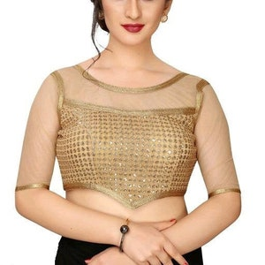 Sari Top For Women Brasso net Readymade Brasso Net Off Shoulder Saree Blouse Sari Blouse Saree Top All Sizes embellished Sari blouse