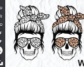 Leopard Mom Skull svg, Messy bun skull svg, Mom life SVG, Momlife skull Svg, Patriotic svg, Svg Files For Cricut, silhouette cameo,svg