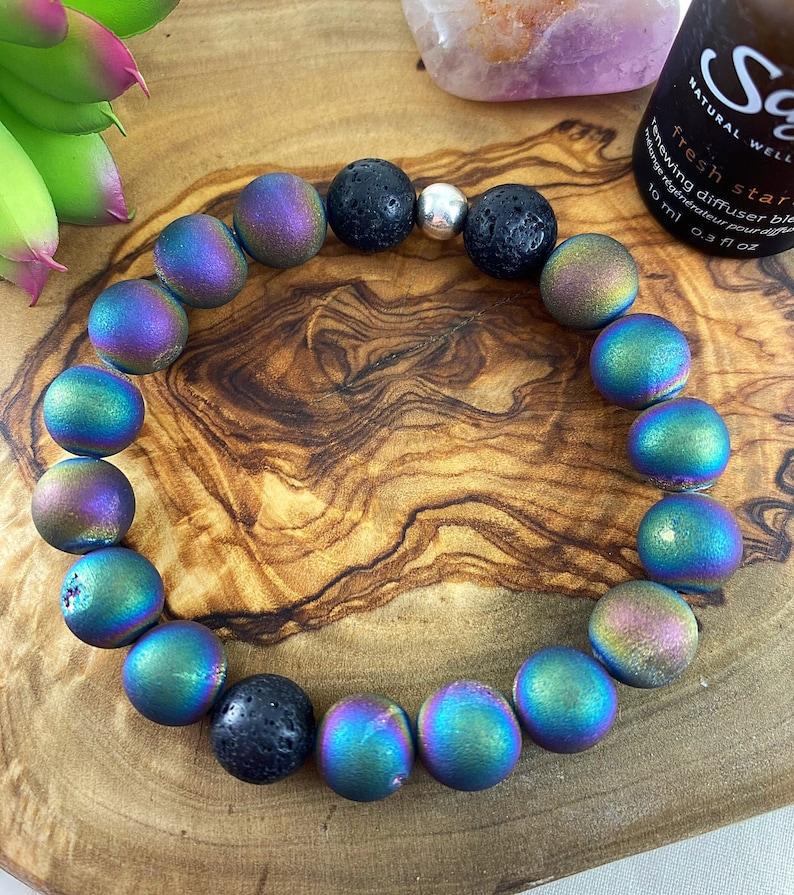 Rainbow DruzyLava StoneGemstoneDiffuserHealingBeaded Bracelet