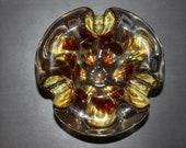 Flower shape vintage amber multicolor heavy large Bohemian Czech Glass ashtray