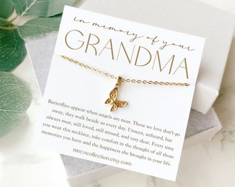 """Nana Butterfly Pendant Charm 1/"""" Bronze Setting Handcrafted Grandmother Gift Idea"""