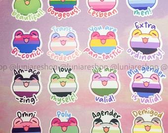 Pride Phrogs Waterproof Vinyl Stickers - Rainbow, Queer, Lesbian WLW, Gay MLM, Trans, Bi Frogs Cute Animals Inspiring [SP-02]