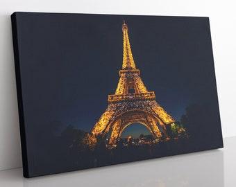 Eiffel Tower Paris Canvas Wall Art, Large Framed Paris Skyline Print Home Decor Wall Art, Aesthetic Room Decor Eiffel Tower Print For Office